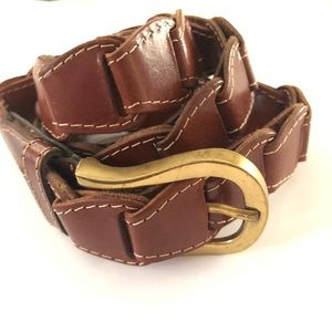Brown Belt Leather Amee Lynn Layered Gold